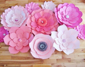 Set of 10 Paper Flowers - Paper Flowers | Paper Flower Backdrop | Baby Nursery | Flower Decor | Home Decor | Nursery Decor | Flower Art