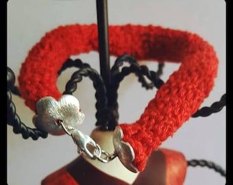 Tubular Bracelet with silver clasp