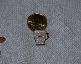 Wood Mazagrand dots linen collar button