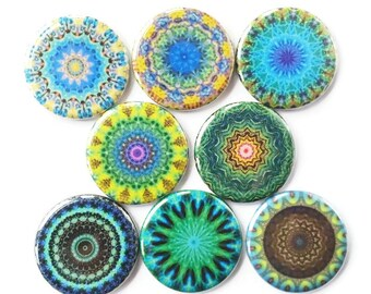 Mandala Magnets, Talavera Magnets, Refrigerator Magnets, Fridge Magnets, Decorative Mandalas Magnets, Teals Blues Mandalas Magnets, 8/Set