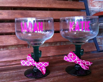 Personalized Margarita Glass - Mother's Day - Bachelorette - Fiesta - Cinco De Mayo - Fiesta Party