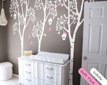 Tree Wall Decal Wall Stickers Birch Trees decal Wall Decals Trees with Birds and Leaves Wall Art Mural Modern wall decor - 037