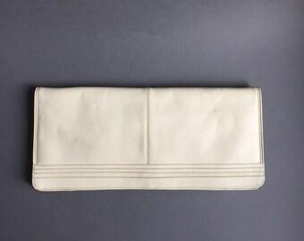 40s Art deco White Long Leather Simple opera handbag, Ladys Felt Handbag, white purse, 40s costume wedding brides evening clutch