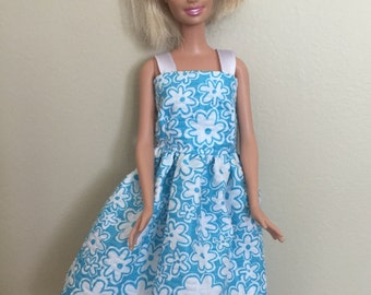 FREE SHIPPING - 11 1/2 inch Fashion Doll Clothes, Handmade, Light Blue/Aqua Dress with White Flowers