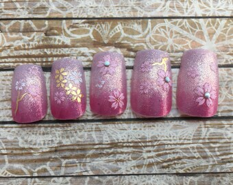 Stiletto or Square Sakura Ombre Nails   Pink Glitter Gradation Press On Nails   Ombre Fake Nails   Glue on Nails   Glitter Acrylic Nails