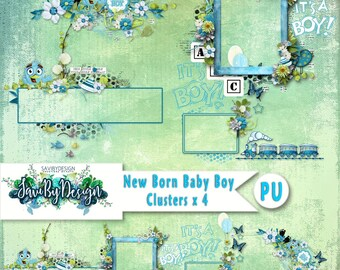 Digital Scrapbooking Clusters set of 5 NEWBORN BABY BOY premade embellishment png clusters to make immediate scrap page