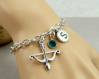 Bow and Arrow Charm Bracelet, Archery Bracelet, Initial and Birthstone Bracelet, Silver Plated Link Charm Bracelet
