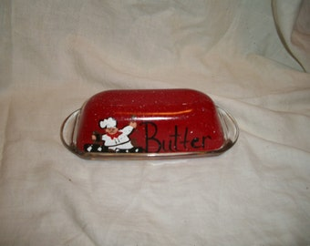 Fat chef butter dish (red) PERSONALIZED FREE!!