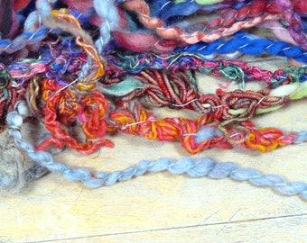 105g - Lysistra skein 2 - art yarn - handspun, handdyed - unique OOAK - texture - SAORI Weaving, knitting, felting, sewing/embroidery