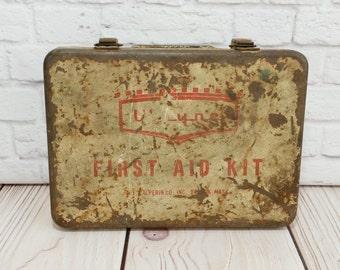Vintage Rustic Metal First Aid Kit Box