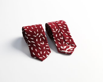 Red With Rice Patern Batik Tie For Men