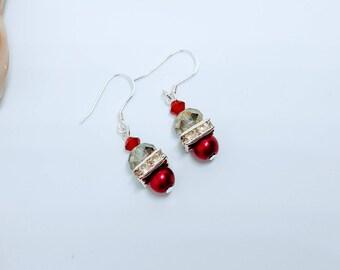 Dangle Drop Beaded Earrings, Pearl Earrings, Crystal Earrings, Sterling Silver Earrings, Beaded Jewelry, Gift for Her, Dangle Earrings