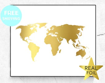 Gold foil world map etsy gumiabroncs
