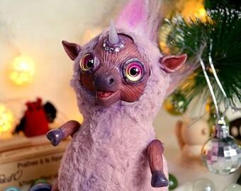 Pink glamorous unicorn art doll art toy handmade ooak Fantasy Creature