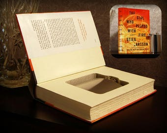 Hollow Book Safe with Flask - The Girl Who Played with Fire - Secret Book Safe