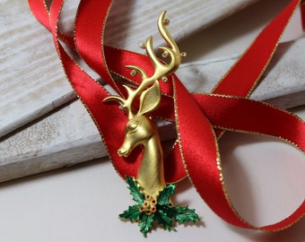 Vintage JJ Reindeer large Christmas brooch, goldtone with holly accents Holiday brooch, Christmas brooch
