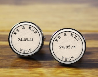 Mr & Mrs ~ Personalised stainless steel wedding cufflinks - A personalized gift for the Groom on your wedding day (Handmade in Australia)