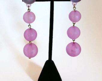 Vintage Purple pinkish  bobble earrings