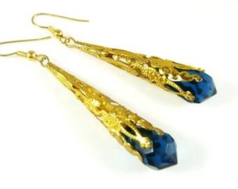 Royal Blue dangle earrings, faceted teardrop Czech Cristals, Chandelier Long Earrings, Filigree Cone Victorian Earrings