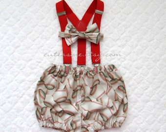 Smash Cake Outfit Boy Girl 1, 2, or 3 piece Baseball Diaper Cover Bow Tie Suspenders First Birthday 1st Birthday Sports Ball Photoshoot3