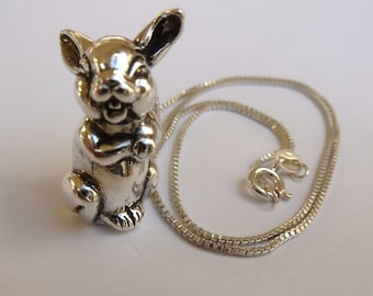 Sterling Silver Laughing Bunny Rabbit Necklace