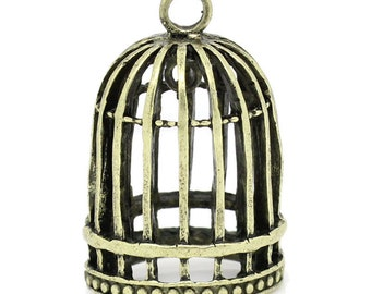 2 Bronze Bird Cage Birdcage Charms, 32mm, 2 Pieces, 3D Double Sided Charms