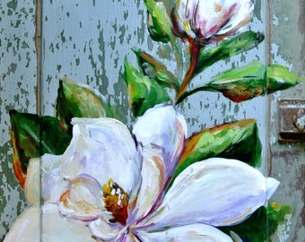 SOUTHERN MAGNOLIA  Original painting by Paige DeBell **on a Salvaged Cabinet Door **Southern Art**Painted Magnolia**
