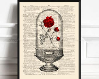 Enchanted Rose, Dome With Red Rose, Beasts Rose Poster, 7th Year Anniversary, 16th Birthday Gift, Gift for Her 5th, Nursery Print Rose,  505