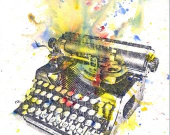 Typewriter Abstract Art Print From Original Watercolor Painting Typewriter Art Print Great Gift Poster Print