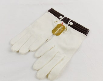Vintage Mod PIERRE CARDIN LEATHER Trim Gloves Deadstock with Tags Sz 6.5 Bonwit Teller