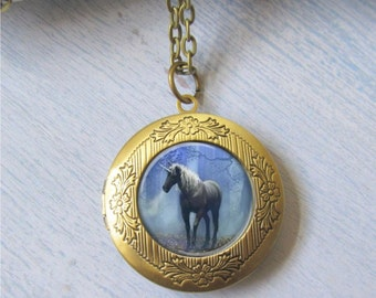 Photo Locket, Unicorn Locket, Antique Bronze Locket, Art Locket, Unicorn Necklace