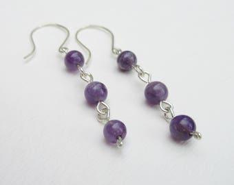 Amethyst Earrings - Sterling Silver Earrings - Purple Stone - Purple Gemstone - Purple Dangles - Bridal - Bridesmaid - Gift for Women - Lady