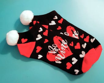 "Pom Pom Socks, Valentines Hearts, ""Be Mine"" Socks -  1 pair - Tweens/Teens/Adults - shoe sz. 4-10-Valentines Gift"