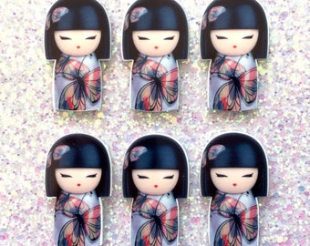 5 pcs - Kawaii Kokeshi Japanese Doll Planar Resin Flatback Cabochon - 46mm - Decoden - DIY