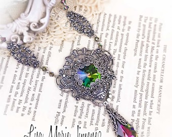 Vintage style, Swarovski crystal, Silver necklace, Statement necklace, Bridal necklace, Victorian style, Filigree jewelry, Gift for Her