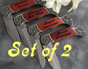 2 Engraved Pocket Knives  / Personalized Groomsman Gift /  Laser Engraved Rosewood Knife / Custom Wedding Gift / Personalized