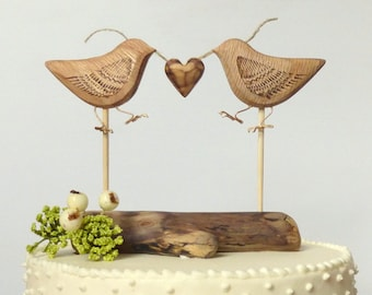 Natural Wood Wedding Cake Topper, Love Birds, Rustic Cake Topper, Wood Wedding Topper, Eco Wedding Decor