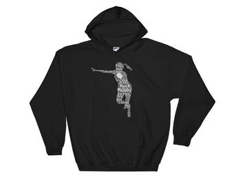 Rugby Player Hooded Sweatshirt for Girls, Teens and Women