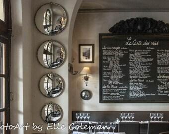 Paris Photography, Paris Print, Paris Decor, Paris black and white cafe interior. Near Place des Vosges.