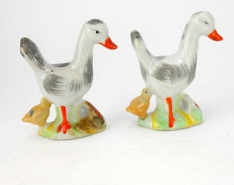 Vintage porcelain duck and duckling figurines vintage goose and gossling figurines made in Japan swan duck goose farm chic country inn decor