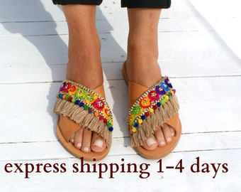 AURORA sandals/ Boho  Sandals/ boho slides / criss cross sandals/  fringed slides/ etnic sandals/ hippie sandals