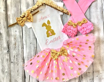 Baby girl first easter outfit, girls 1st easter outfit, baby girl easter outfit, pink and gold easter outfit, easter outfit, girls, bodysuit