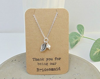 Bridesmaid Necklace - Leaf Necklace - Woodland Themed Wedding - Leaf Pendant - Silver Leaf Necklace - Woodland Jewellery - Gifts for Her