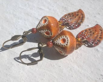 Earrings: Shapes and colors - copper and ceramic with enamel