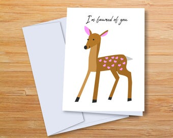 I'm Fawned of You- Anniversary Card, Fawn Love, Buy 2 Get 1 Free