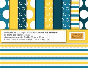 Digital Paper Scrapbooking Stripes, Pois; Circle. Size 36 cm x 38 cm. Blue, Yellow and White. Set of 10 digital paper. Instant download