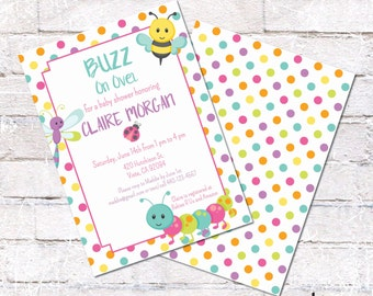 Bug Baby Shower Invitation. Baby Girl Shower Invite. Bright Insect Baby Shower Invite. Personalized - Digital / Printable File