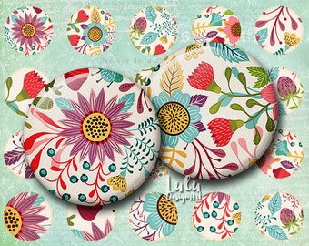 """Digital Collage Sheet """" Spring Florals"""" -  Circle Images - 1 inch - Floral Printable - Glass Pendant Images, flower clipart, 1 inch circle"""