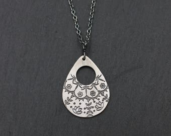 Hand Stamped Sterling Silver Necklace; Mandala Necklace, Sterling Silver Metalwork, One of a Kind Necklace