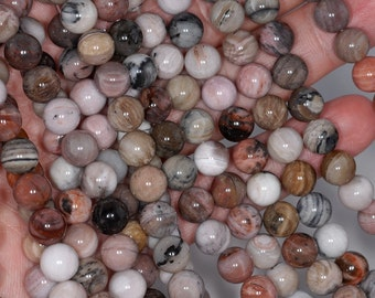 6mm Petrified Wood Agate Gemstone Grade AA Brown Round 6mm Loose Beads 15.5 inch Full Strand BULK LOT 1,2,6,12 and 50 (80000389-785)